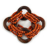 Multistrand Dusty Orange Glass Bead with Wooden Rings Flex Bracelet - Medium