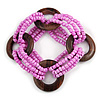 Multistrand Pearlized Pink Glass Bead with Wooden Rings Flex Bracelet - Medium