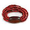 Multistrand Red-Brown Glass Bead with Brown Wooden Bead Flex Bracelet - Medium