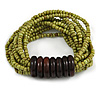 Multistrand Dusty Lime Green Glass Bead with Wooden Rings Flex Bracelet - Medium