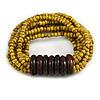 Multistrand Dusty Yellow Glass Bead with Wooden Rings Flex Bracelet - Medium