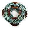 Multistrand Dusty Light Blue Glass Bead with Wooden Rings Flex Bracelet - Medium