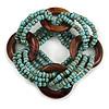 Multistrand Dusty Light Blue Glass Bead with Wooden Rings Flex Bracelet - Medium