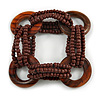 Multistrand Brown Glass Bead with Wooden Rings Flex Bracelet - Medium