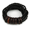 Multistrand Black Glass Bead with Wooden Rings Flex Bracelet - Medium