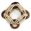 Multistrand Antique White Glass Bead with Wooden Rings Flex Bracelet - Medium