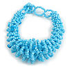 Chunky Glass Beads and Semiprecious Stone Bracelet In Light Blue - 18cm Long