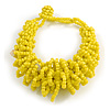 Chunky Glass Beads and Semiprecious Stone Bracelet In Lemon Yellow - 18cm Long