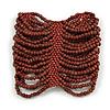 Wide Brown Glass Bead Flex Bracelet - Large - up to 22cm wrist