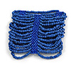 Wide Blue Glass Bead Flex Bracelet - Large - up to 22cm wrist