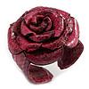 Statement Pink Snake Print Leather Rose Flower Flex Cuff Bangle Bracelet - Adjustable