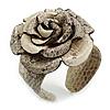 Statement Off White/ Grey Snake Print Leather Rose Flower Flex Cuff Bangle Bracelet - Adjustable