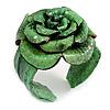 Statement Green Snake Print Leather Rose Flower Flex Cuff Bangle Bracelet - Adjustable