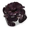 Statement Deep Purple Snake Print Leather Flower Flex Cuff Bangle Bracelet - Adjustable