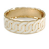 Cream Enamel Interlocked Link Round Hinged Bangle Bracelet In Gold Tone - 19cm L