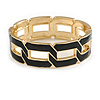 Jet Black Enamel Link Oval Hinged Bangle Bracelet In Gold Tone - 18cm Long