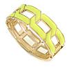 Neon Yellow Enamel Link Oval Hinged Bangle Bracelet In Gold Tone - 18cm Long