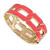 Neon Pink Enamel Link Oval Hinged Bangle Bracelet In Gold Tone - 18cm Long