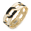 Black/ Cream Enamel Link Oval Hinged Bangle Bracelet In Gold Tone - 18cm Long