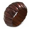 Lustrous Brown Wooden Flex Bracelet - up to 19cm L