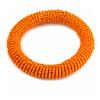 Orange Glass Bead Roll Stretch Bracelet - Adjustable