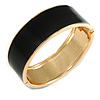 Round Black Enamel Hinged Bangle Bracelet in Gold Tone Metal - 20cm Long/ 60mm Diameter
