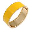 Round Banana Yellow Enamel Hinged Bangle Bracelet in Gold Tone Metal - 20cm Long/ 60mm Diameter