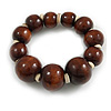 Brown Graduated Wood Bead Flex Bracelet - 18cm Long