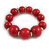 Cherry Red Graduated Wood Bead Flex Bracelet - 18cm Long