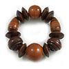 Statement Chunky Wood Bead Flex Bracelet in Brown - Medium