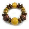 Statement Chunky Wood Bead Flex Bracelet in Yellow/ Brown - Medium