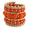 Wide Coiled Ceramic, Acrylic, Wood Bead Bracelet (Orange, Natural) - Adjustable
