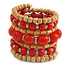 Wide Coiled Ceramic, Acrylic, Wood Bead Bracelet (Brick Red, Natural) - Adjustable