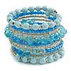 Wide Coiled Ceramic, Glass Bead Bracelet (Light Blue, Transparent) - Adjustable