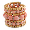 Wide Coiled Ceramic, Acrylic, Wood Bead Bracelet (Pastel Pink, Natural) - Adjustable