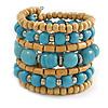 Wide Coiled Ceramic, Acrylic, Wood Bead Bracelet (Light Blue, Natural) - Adjustable