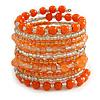 Wide Coiled Ceramic, Glass Bead Bracelet (Orange, Transparent) - Adjustable