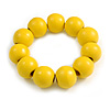Banana Yellow Round Bead Wood Flex Bracelet - 19cm Long