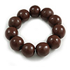 Brown Round Bead Wood Flex Bracelet - 19cm Long