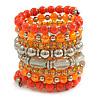 Wide Coiled Ceramic, Acrylic, Glass Bead Bracelet (Orange, Silver, Transparent) - Adjustable