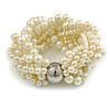 Wide Chunky Cream Glass Bead Multistrand Plaited Bracelet - Medium up to 18cm Long