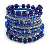 Wide Coiled Ceramic, Glass Bead Bracelet (Royal Blue, Transparent) - Adjustable