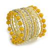 Wide Coiled Ceramic, Glass Bead Bracelet (Lemon Yellow, Lemonade Yellow, Transparent) - Adjustable
