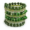 Wide Coiled Ceramic, Glass Bead Bracelet (Green, Transparent) - Adjustable