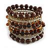 Wide Coiled Ceramic, Glass Bead Bracelet (Brown, Bronze, Transparent) - Adjustable