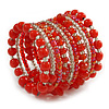 Wide Coiled Ceramic, Glass Bead Bracelet (Red, Carrot, Transparent) - Adjustable