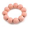 Pastel Pink Round Bead Wood Flex Bracelet - 19cm Long