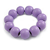 Lilac Round Bead Wood Flex Bracelet - 19cm Long