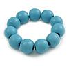 Pastel Blue Round Bead Wood Flex Bracelet - 19cm Long