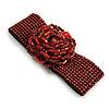 Statement Beaded Flower Stretch Bracelet In Ox Blood/ Red Colour - 18cm L - Adjustable